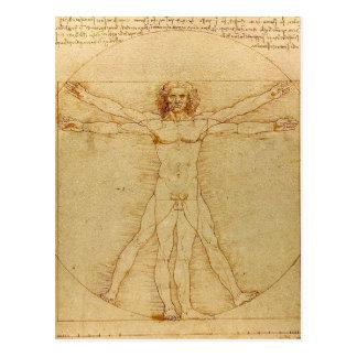 Leonardo da Vinci and Vitruvian Man Postcard