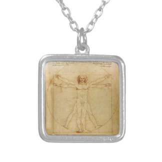 Leonardo da Vinci and Vitruvian Man Silver Plated Necklace
