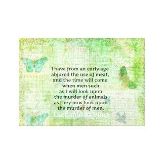 Leonardo da Vinci  Animal Rights quote vegan Canvas Print