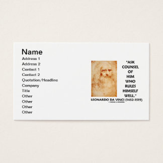 Leonardo da Vinci Ask Counsel Who Rules Himself Business Card
