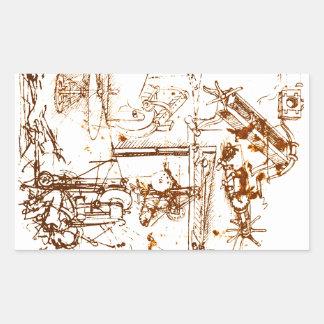 Leonardo da Vinci bosquejó sickers Pegatina Rectangular