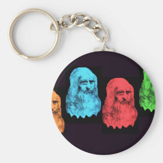 Leonardo Da Vinci Collage Basic Round Button Keychain