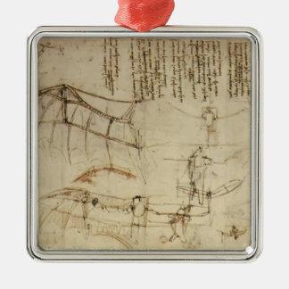 Leonardo da Vinci- Design for a Flying Machine Square Metal Christmas Ornament