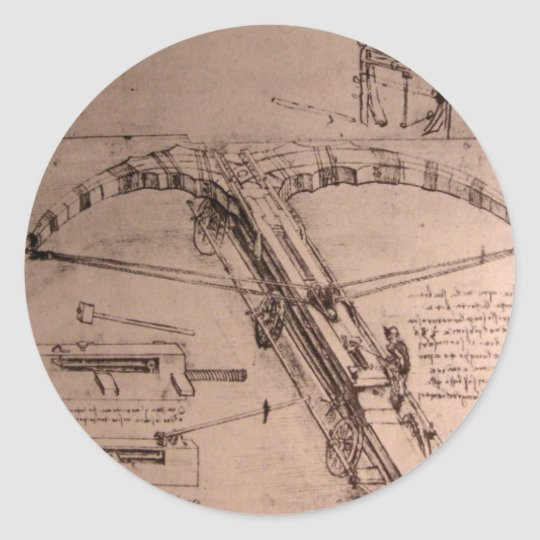 Leonardo da Vinci, design for an enormous crossbow Classic Round Sticker