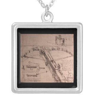 Leonardo da Vinci, design for an enormous crossbow Square Pendant Necklace