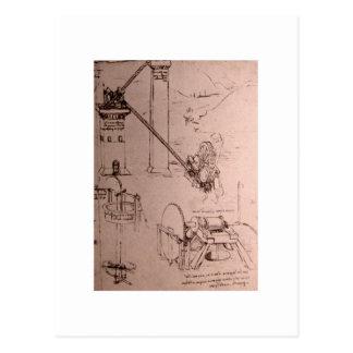 Leonardo da Vinci, dibujos de máquinas Postales