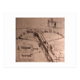 Leonardo da Vinci, diseño para una ballesta enorme Postales