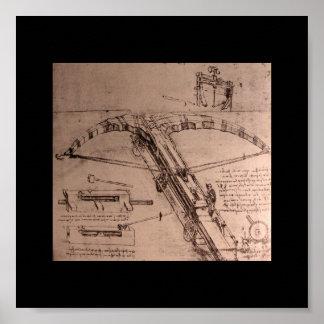 Leonardo da Vinci, diseño para una ballesta enorme Póster