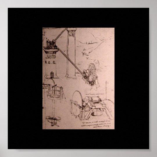Leonardo da Vinci, drawings of machines Poster