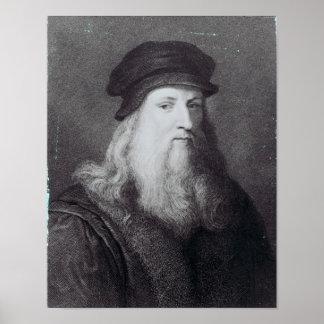 Leonardo da Vinci, engraved by Raphael Print