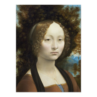 Leonardo Da Vinci Ginevra De' Benci 6.5x8.75 Paper Invitation Card