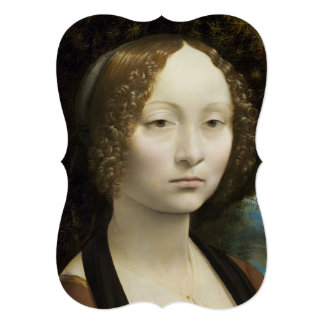 """Leonardo Da Vinci Ginevra De' Benci 5"""" X 7"""" Invitation Card"""