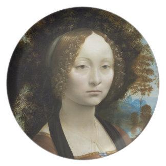 Leonardo Da Vinci Ginevra De' Benci Painting Melamine Plate