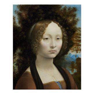 Leonardo Da Vinci Ginevra De' Benci Painting Poster