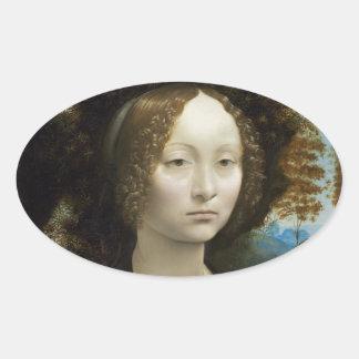 Leonardo Da Vinci Ginevra De Benci Oval Stickers