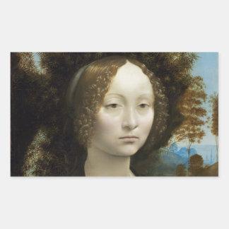 Leonardo Da Vinci Ginevra De Benci Rectangular Stickers