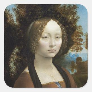 Leonardo Da Vinci Ginevra De Benci Square Sticker