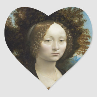 Leonardo Da Vinci Ginevra De Benci Heart Stickers