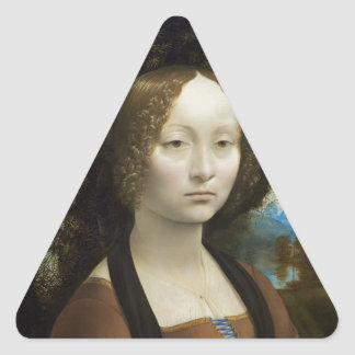 Leonardo Da Vinci Ginevra De Benci Triangle Stickers