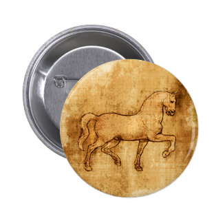 Leonardo Da Vinci Horse Art 2 Inch Round Button