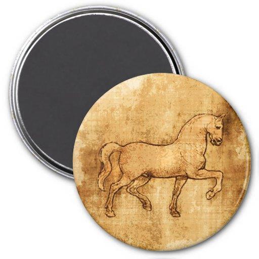 Leonardo Da Vinci Horse Art 3 Inch Round Magnet