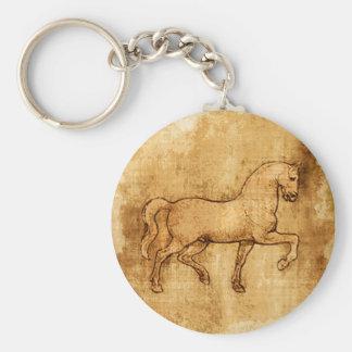 Leonardo Da Vinci Horse Art Basic Round Button Keychain