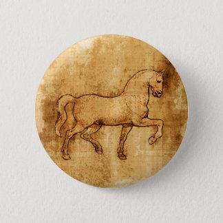 Leonardo Da Vinci Horse Art Button