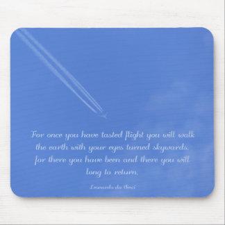 Leonardo Da Vinci inspirational flight quote Mouse Pad