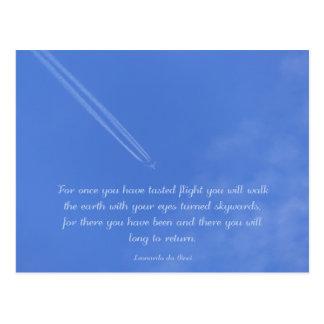 Leonardo Da Vinci inspirational flight quote Postcard