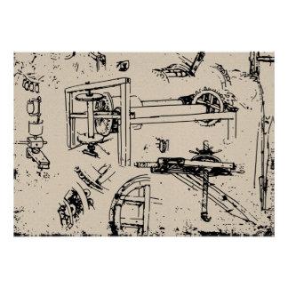 Leonardo da Vinci Inventions Drawing Poster