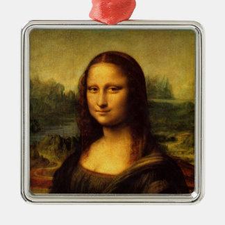 Leonardo da Vinci - Mona Lisa Adorno Cuadrado Plateado