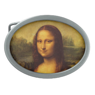 Leonardo Da Vinci Mona Lisa Fine Art Painting Oval Belt Buckle