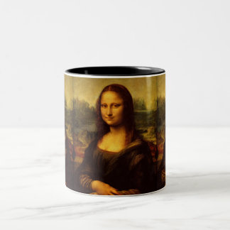 Leonardo Da Vinci Mona Lisa Fine Art Painting Two-Tone Coffee Mug