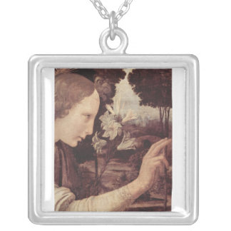 Leonardo Da Vinci Painting circa 1472-1475 Square Pendant Necklace
