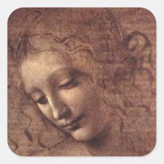 Leonardo da Vinci Pegatina Cuadrada