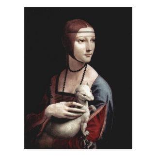 Leonardo da Vinci Portr?t einer Dame mit Hermelin  Postcard