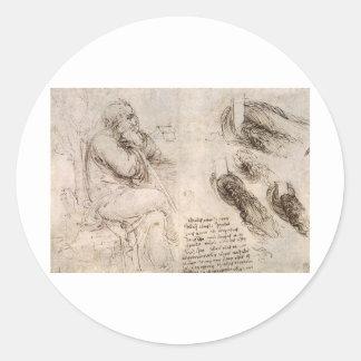 Leonardo da Vinci, possible self-portrait. Classic Round Sticker