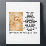 "Leonardo da Vinci Relaxation Work Judgment Power Plaque<br><div class=""desc"">If you work, then you should understand the meaning of rest and relaxation. Celebrate life with any of these inspirational and motivational Leonardo da Vinci quotation gifts, featuring da Vinci&#39;s timeless words of wisdom on the relationship between relaxation, work, and judgment. Quotation says: &quot;Every now and then go away, even...</div>"
