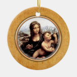 Leonardo-da-Vinci's Madonna Ornament. Double-Sided Ceramic Round Christmas Ornament