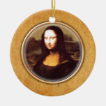 Leonardo-da-Vinci's Mona Lisa Ornament. Double-Sided Ceramic Round Christmas Ornament