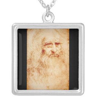 Leonardo Da Vinci Self-Portrait circa 1510-1515 Square Pendant Necklace