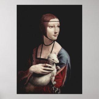 Leonardo da Vinci - señora con un armiño Póster
