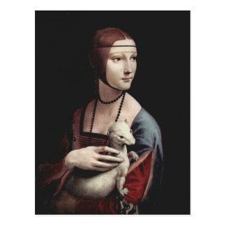 Leonardo da Vinci - señora con un armiño Tarjetas Postales