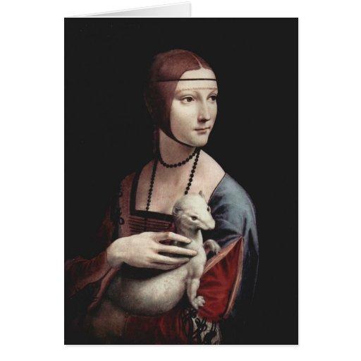 Leonardo da Vinci - señora con un armiño Tarjetón