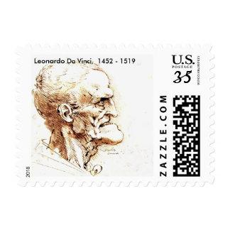 Leonardo Da Vinci Stamps (Postcard)
