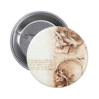 Leonardo da Vinci- Studies of human skull Pinback Buttons