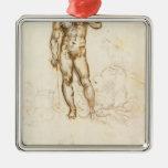 Leonardo da Vinci- Study of David by Michelangelo Christmas Ornaments