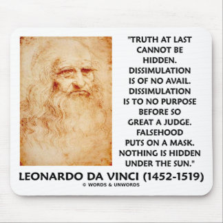 Leonardo da Vinci Truth Cannot Be Hidden Quote Mouse Pad