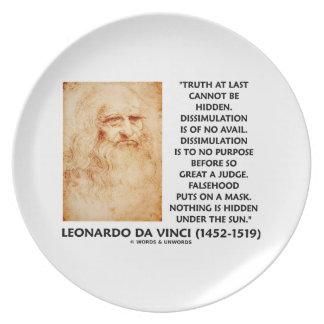 Leonardo da Vinci Truth Cannot Be Hidden Quote Plate