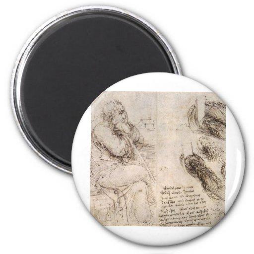 Leonardo da Vinci, uno mismo-retrato posible Imán Redondo 5 Cm